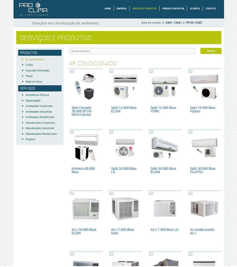 Página Serviços e produtos
